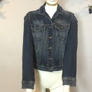 SILVER JEANS JACKET Distressed faded size XS